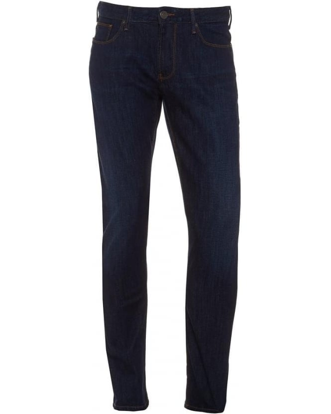 Armani Jeans Mens Jeans J06 Slim Fit Tobacco Stitch Dark Blue Jean