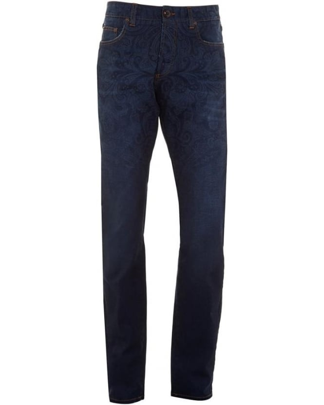 Etro Mens Jeans Paisley Print Regular Fit Navy Blue Denim Jean