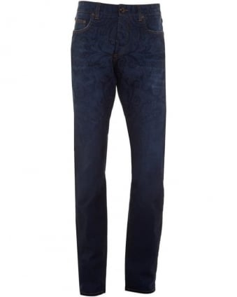 Mens Jeans Paisley Print Regular Fit Navy Blue Denim Jean