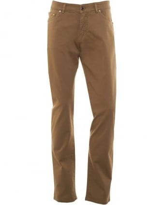 Mens Jeans Regular Fit Tapered Taupe Jean