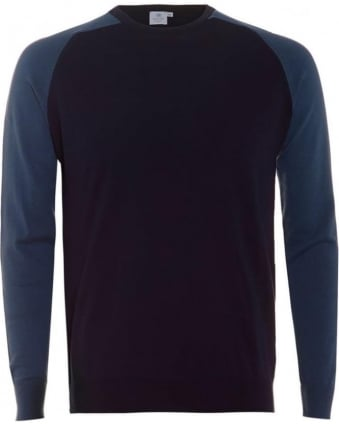 Mens Jumper Contrast Sleeve Navy Sky Cashmere Sweater