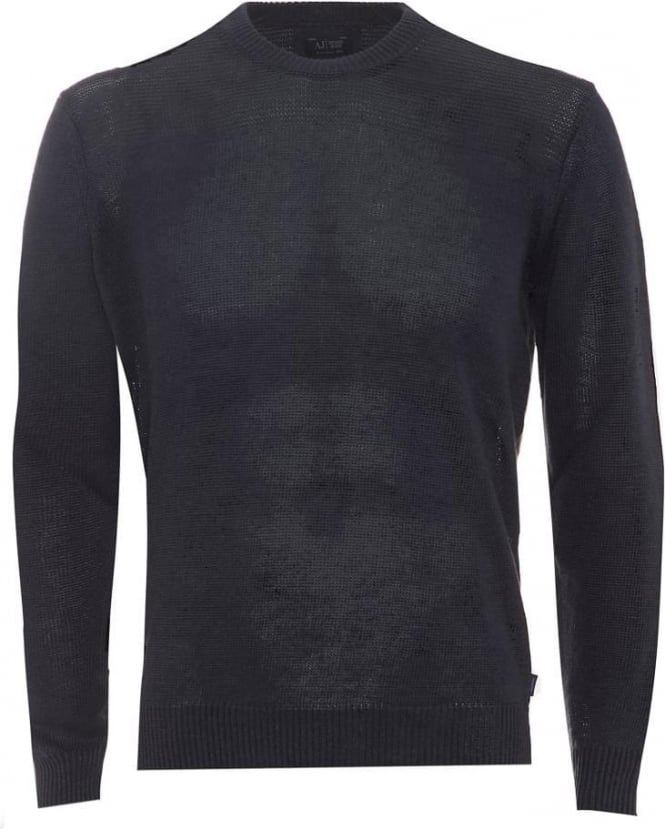 Armani Jeans Mens Jumper Crew Neck Cotton Blend Blue Sweater