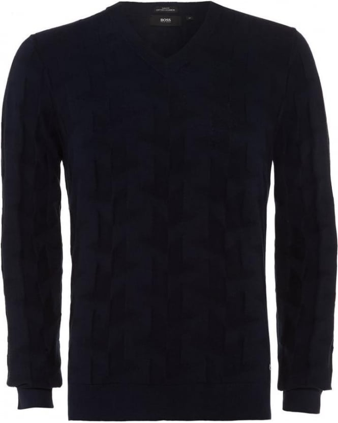 Hugo Boss Black Mens Jumper Faddis Cashmere Dark Blue Texture Knit