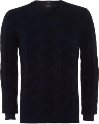 Mens Jumper Faddis Cashmere Dark Blue Texture Knit