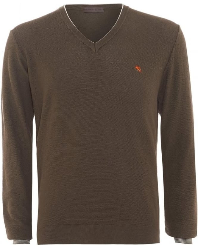 ETRO Mens Jumper Piped V-neck Cashmere Taupe Brown Knit