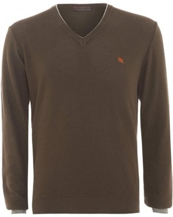 Mens Jumper Piped V-neck Cashmere Taupe Brown Knit
