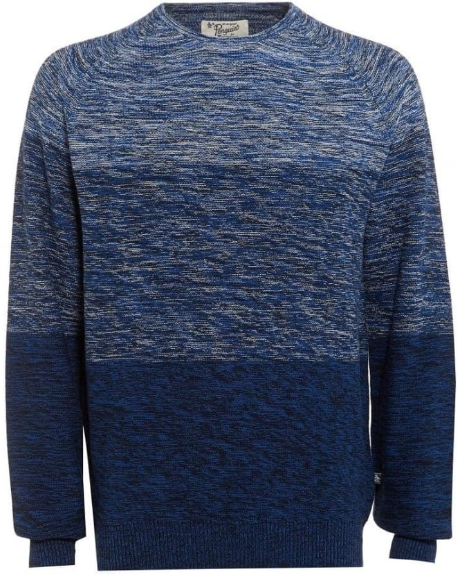 Original Penguin Mens Jumper Three Panel Crew Neck Navy Knit