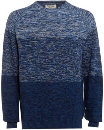 Mens Jumper Three Panel Crew Neck Navy Knit