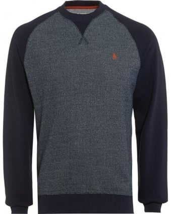 Mens Jumper Two Tone Panel Navy Blue Sweatshirt