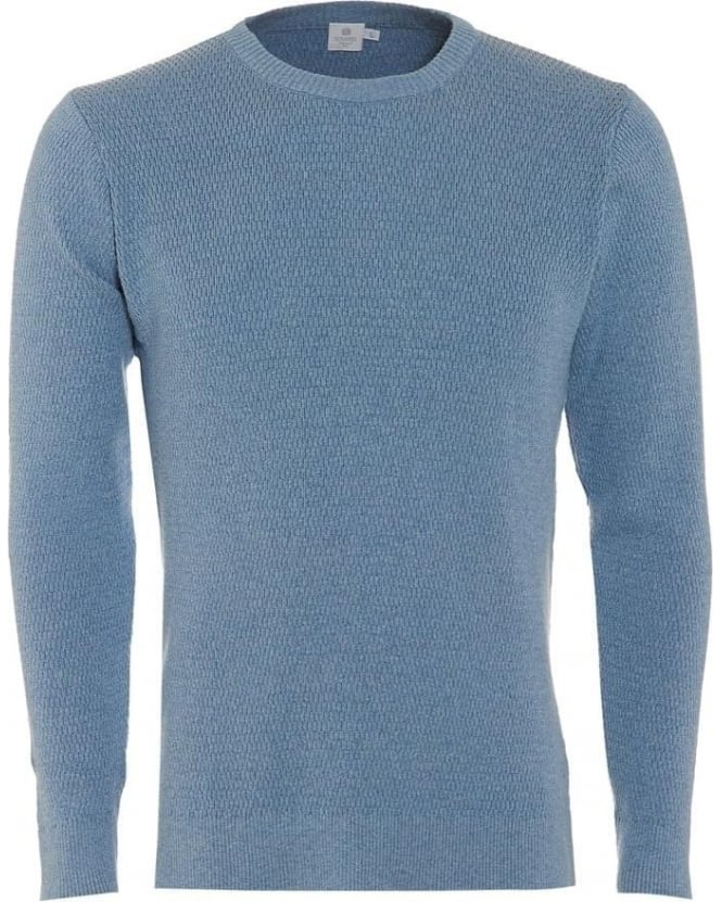 Sunspel Mens Jumper Waffle Cross Stitch Sky Blue Sweater