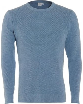 Mens Jumper Waffle Cross Stitch Sky Blue Sweater
