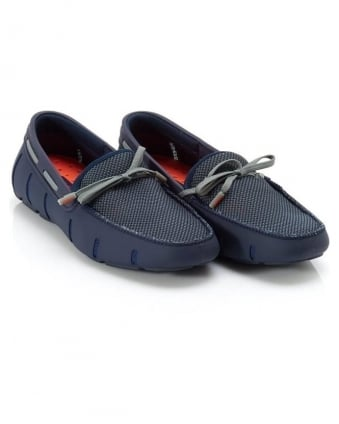 Mens Lace Loafers Navy Blue DT Mocassins