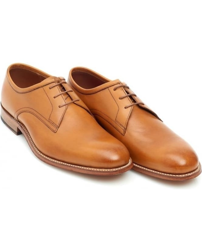Grenson Shoes Mens Leighton Tan Leather Lace Up Derby