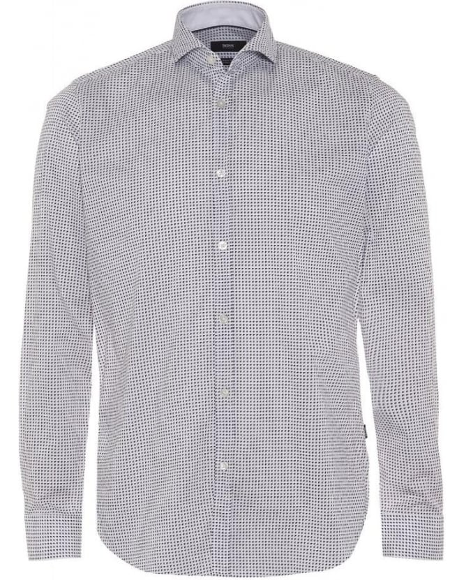 Hugo Boss Black Mens Lennie_2 Shirt, Retro Pattern White Navy Regular Fit Shirt