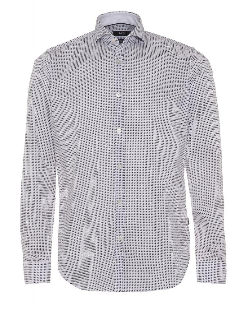 Hugo boss black mens lennie 2 shirt retro pattern regular for Hugo boss navy shirt