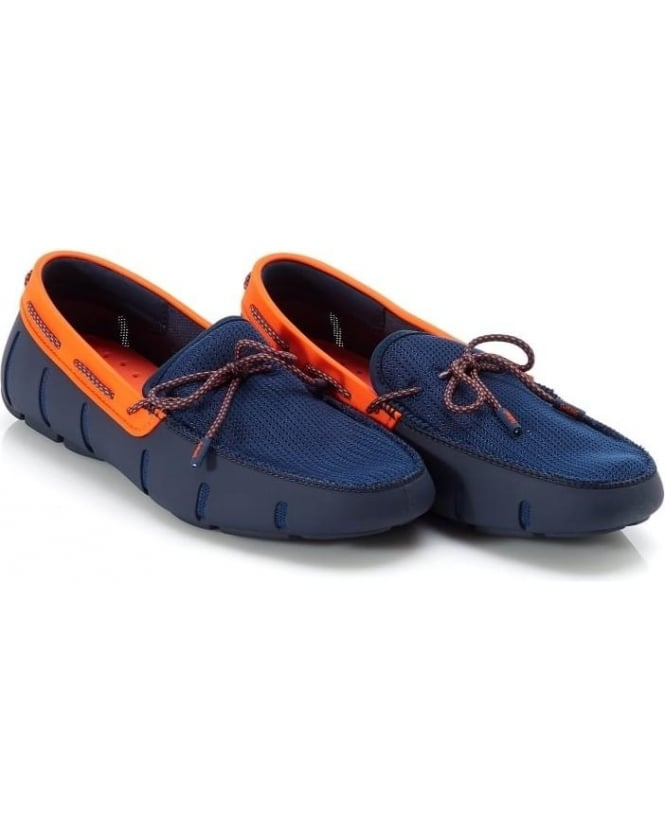 Swims Mens Loafers Navy and Orange Sparkle Lace Loafer