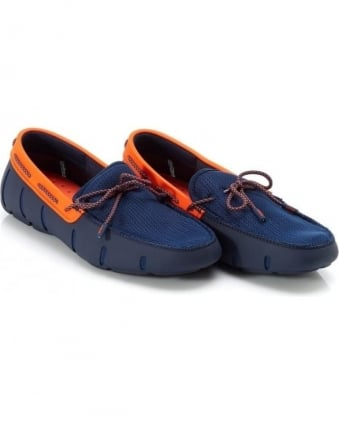 Mens Loafers Navy and Orange Sparkle Lace Loafer