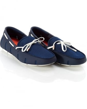 Mens Loafers Navy and White Lace Mesh Loafer