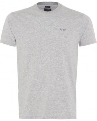 Mens Marl T-Shirt, Regular Fit Logo Tee Grey