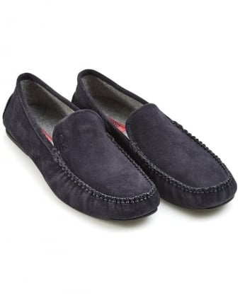 Mens Mocassins C-Home Suede Slip-On Dark Blue Shoes