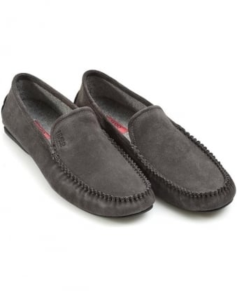 Mens Moccasin C-Home Suede Grey Slip-On Shoes