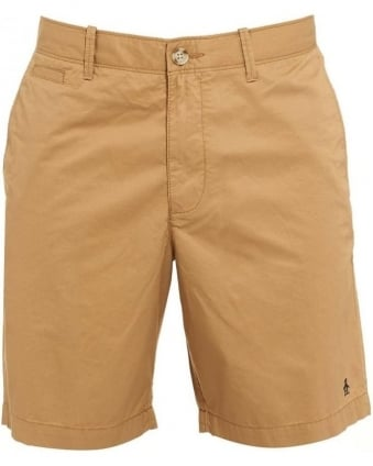 Mens Mojo Shorts, Beige Plain Slim Fit Chino Short