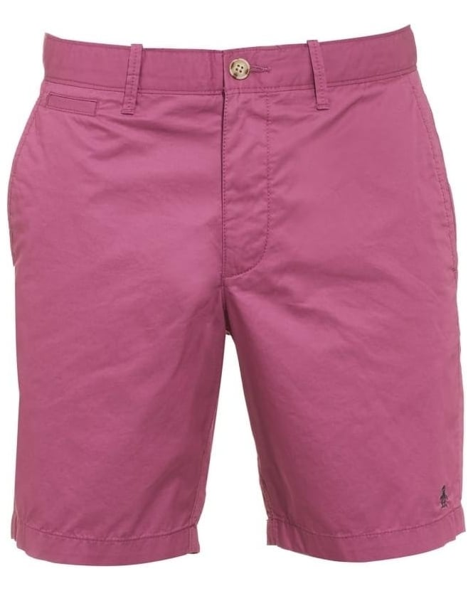 Original Penguin Mens Mojo Shorts, Grape Purple Plain Slim Fit Chino Short