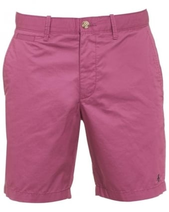 Mens Mojo Shorts, Grape Purple Plain Slim Fit Chino Short