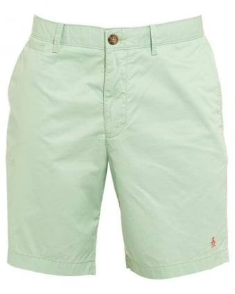 Mens Mojo Shorts, Quiet Green Plain Slim Fit Chino Short