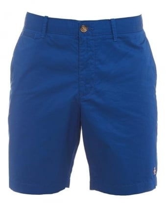 Mens Mojo Shorts, True Blue Plain Slim Fit Chino Short