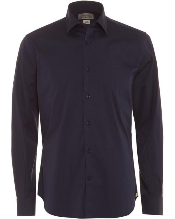 Poggianti Shirts Mens Navy Blue Slim Fit Shirt