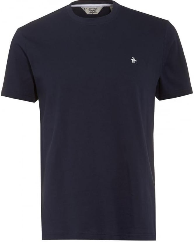Original Penguin Mens Navy T-Shirt, Plain Logo Pinpoint Tee