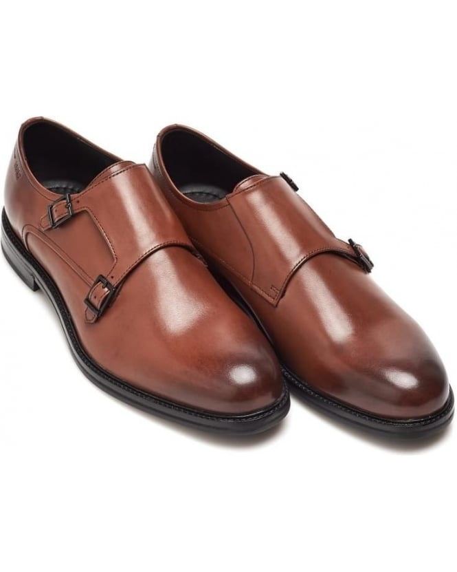 Hugo Boss Black Mens Neoclass_Monk Shoes, Tan Brown Monk Strap Shoe