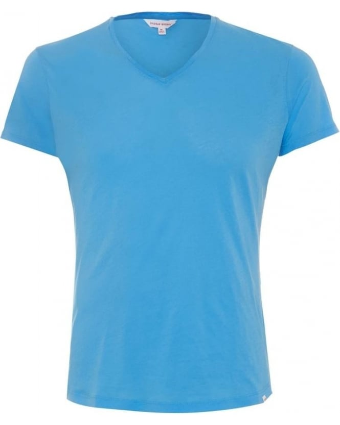 Orlebar Brown Mens OB V T-Shirt, Riviera Blue V Neck Tee
