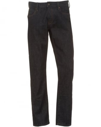 Mens Orange24 Barcelona Jeans, Dark Blue Regular Fit Denim