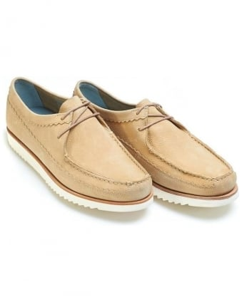 Mens Owen Moccasins Leather Lace up Beige Slip On Shoe