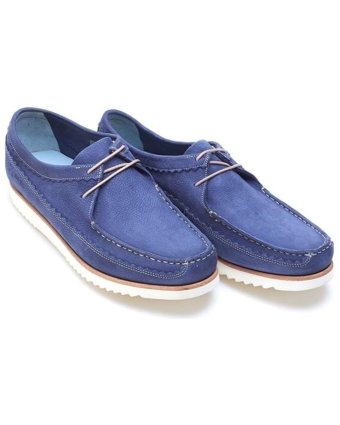 Grenson Shoes Mens Owen Moccasins Leather Lace up Navy Blue Slip On Shoe