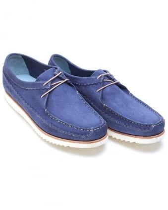 Mens Owen Moccasins Leather Lace up Navy Blue Slip On Shoe