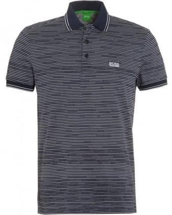 Mens Paddy 2 Polo Shirt, Navy Blue Striped Tipped Polo