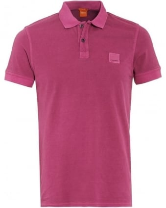 Mens Pasha Polo Shirt, Dark Purple Slim Fit Badge Polo