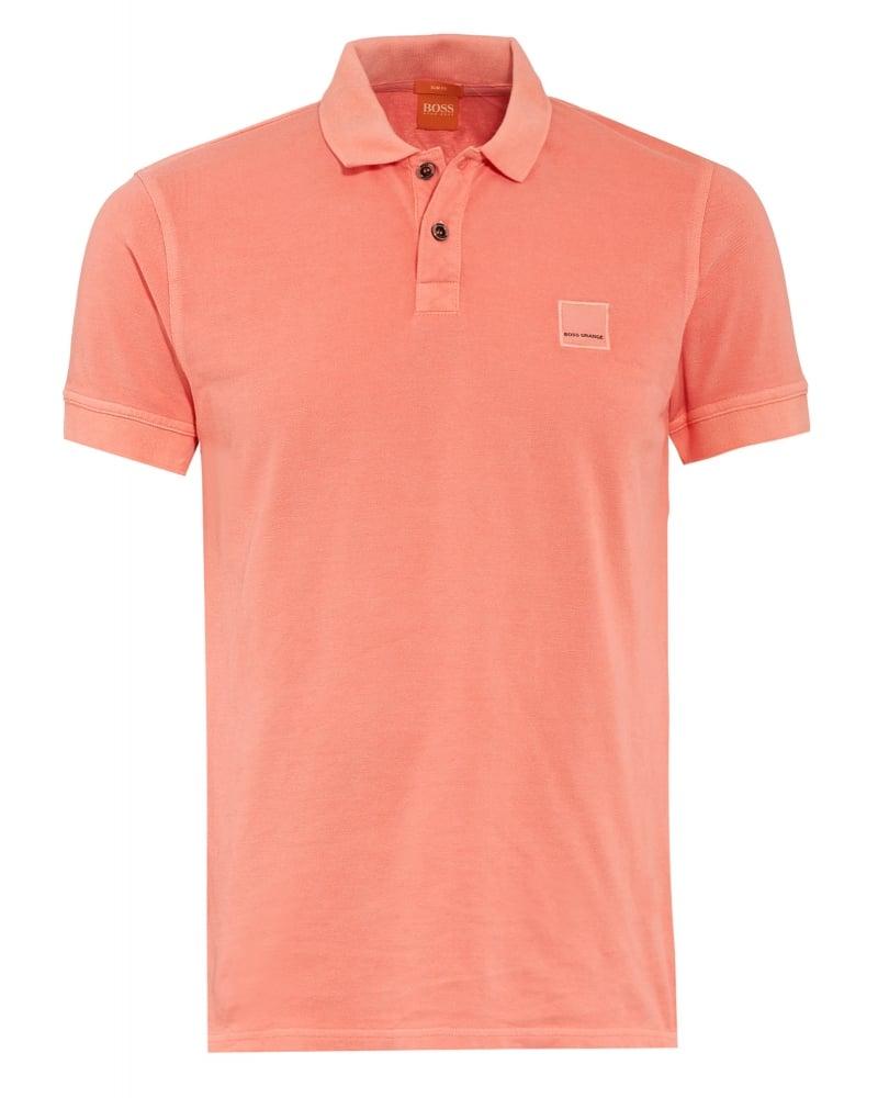 Hugo boss orange mens pasha polo shirt light orange slim for Orange polo shirt mens