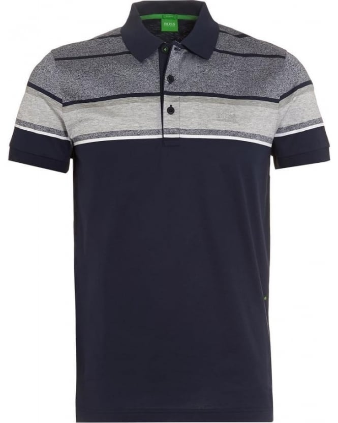 Hugo Boss Green Mens Paule 5 Polo Shirt, Navy Band Polo