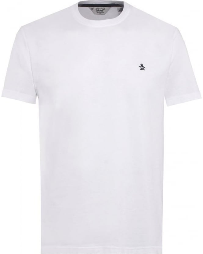 Original Penguin Mens Pin Point T-Shirt, White Logo Tee