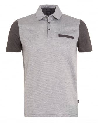 Mens Place 11 Front Pocket Polo Shirt Grey