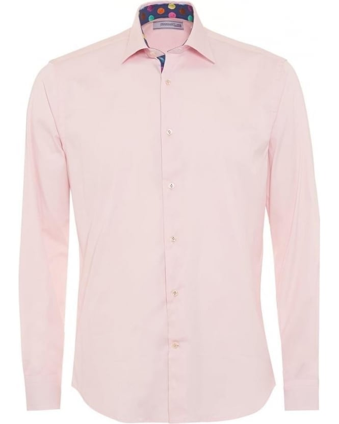 Poggianti Shirts Mens Plain Pink Contrast Spot Detail Slim Fit Shirt