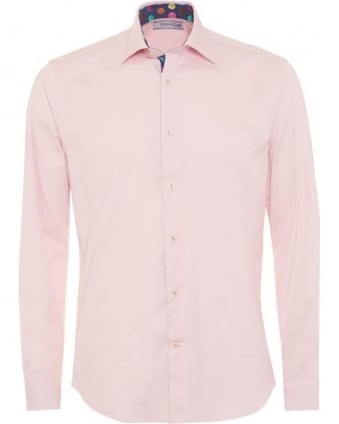 Mens Plain Pink Contrast Spot Detail Slim Fit Shirt