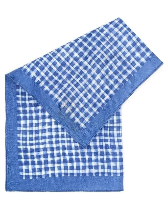Hugo Boss Black Mens Pocket Square Blue Check Linen Scarf