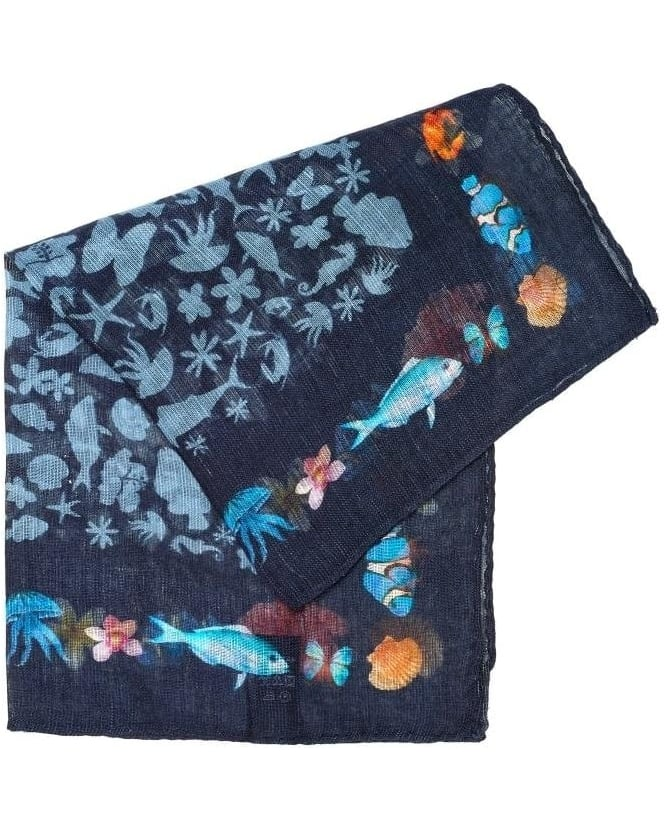 Circolo 1901 Mens Pocket Square Navy Blue Sea Animal Print Handkerchief
