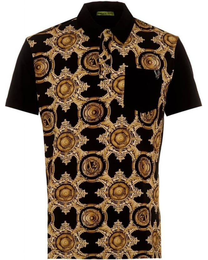 Versace Jeans Mens Polo Shirt Baroque Black Polo