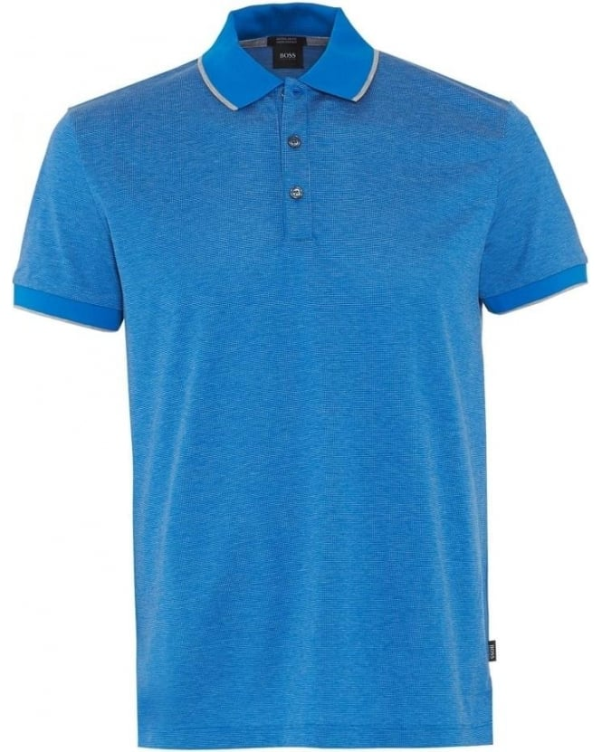 Hugo Boss Black Mens Polo Shirt Genova Blue Regular Fit Polo